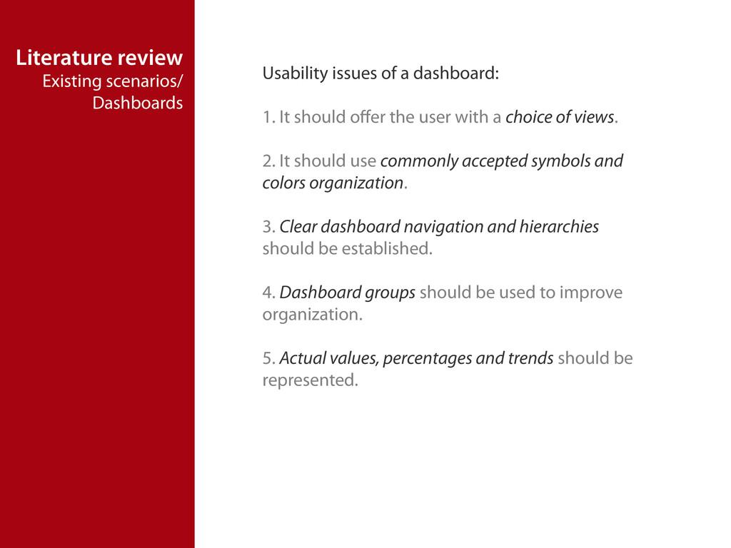 Literature review Existing scenarios/ Dashboard...