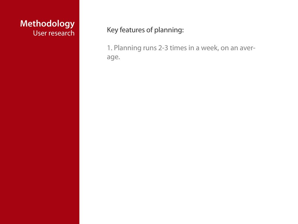 Methodology User research Key features of plann...