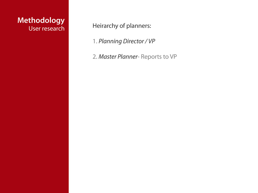 Methodology User research Heirarchy of planners...