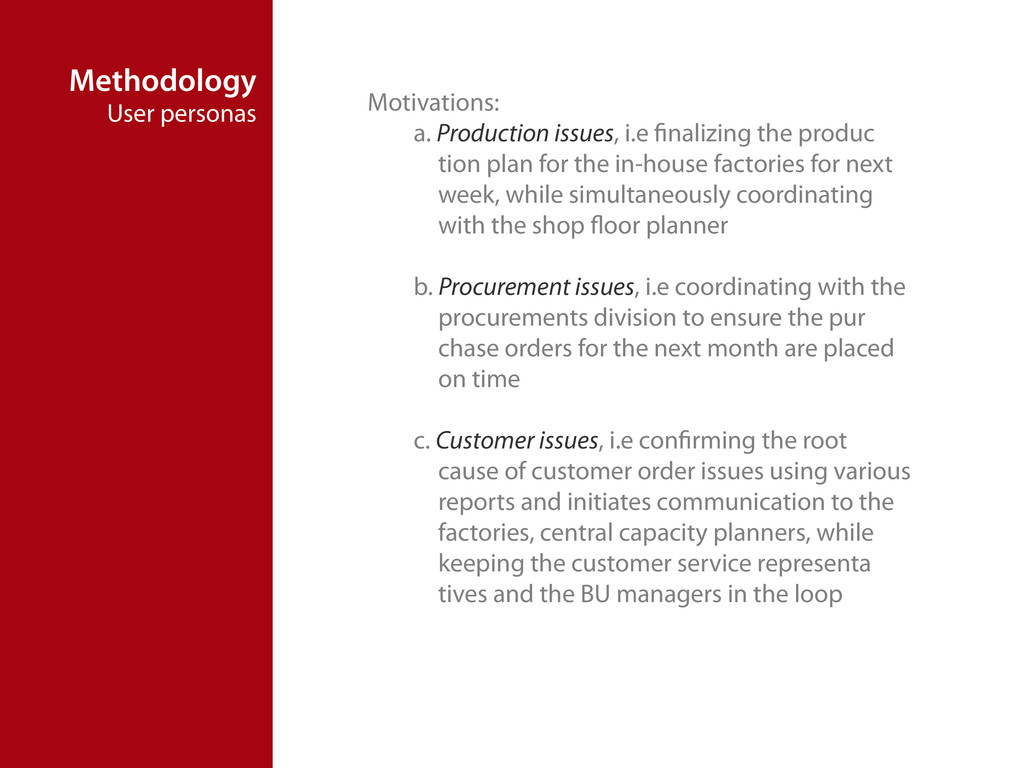 Methodology User personas Motivations: a. Produ...