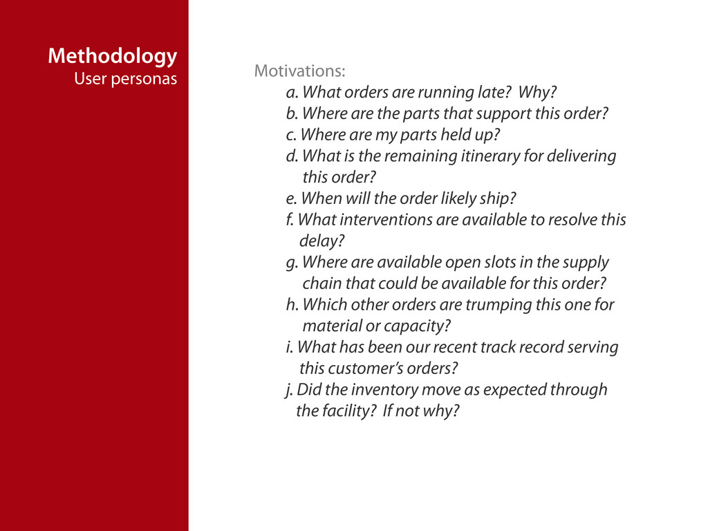 Methodology User personas Motivations: a. What ...