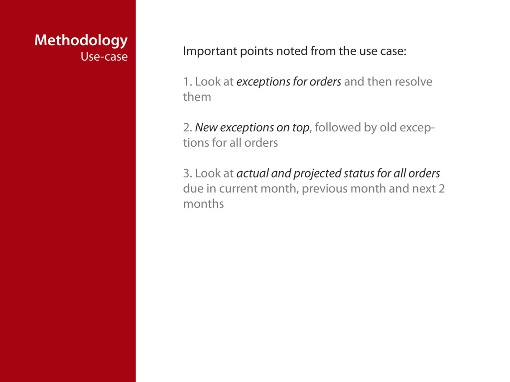 Methodology Use-case Important points noted fro...