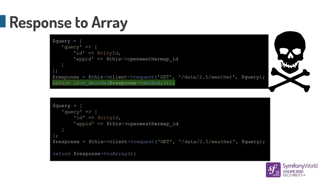 Response to Array $query = [ 'query' => [ 'id' ...