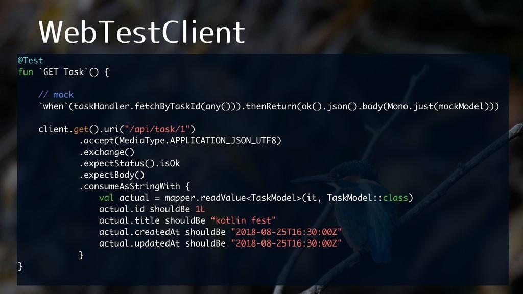 8FC5FTU$MJFOU @Test fun `GET Task`() { // mock ...