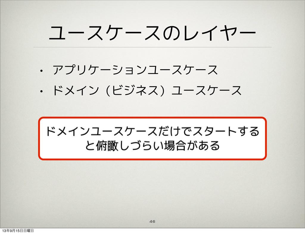 ユースケースのレイヤー • アプリケーションユースケース • ドメイン(ビジネス)ユースケース...