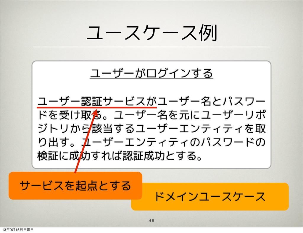 ユースケース例 48 ユーザーがログインする ユーザー認証サービスがユーザー名とパスワー ドを...