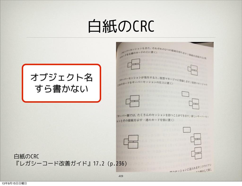 白紙のCRC 49 オブジェクト名 すら書かない 白紙のCRC 『レガシーコード改善ガイド』1...