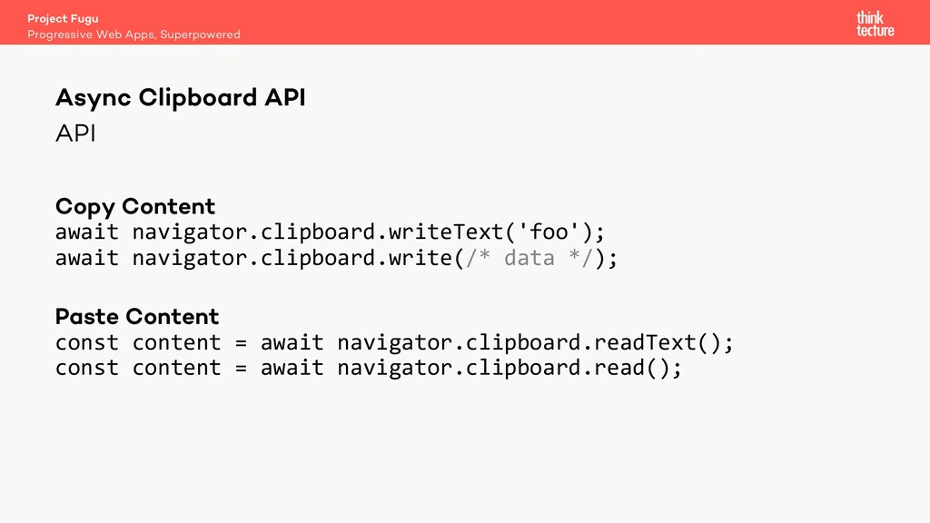 API Copy Content await navigator.clipboard.writ...