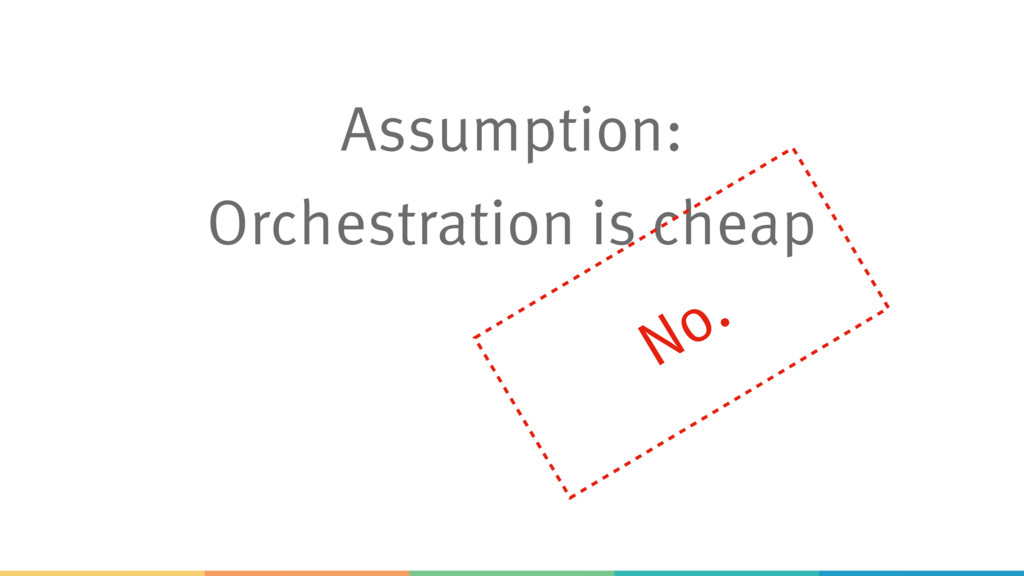 Assumption: Orchestration is cheap No.