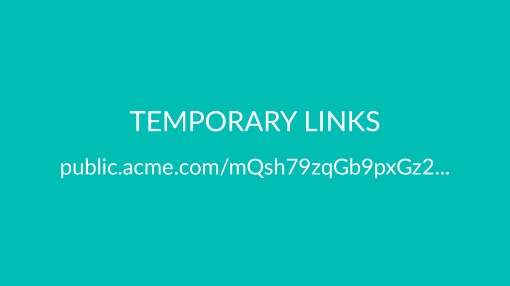 TEMPORARY LINKS public.acme.com/mQsh79zqGb9pxGz...