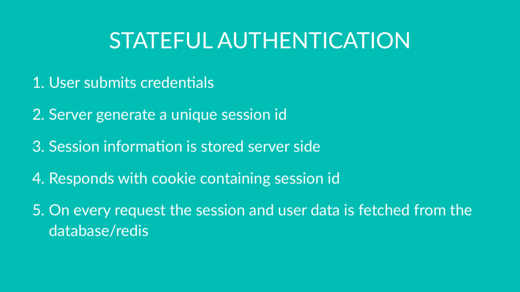 STATEFUL AUTHENTICATION 1. User submits creden0...