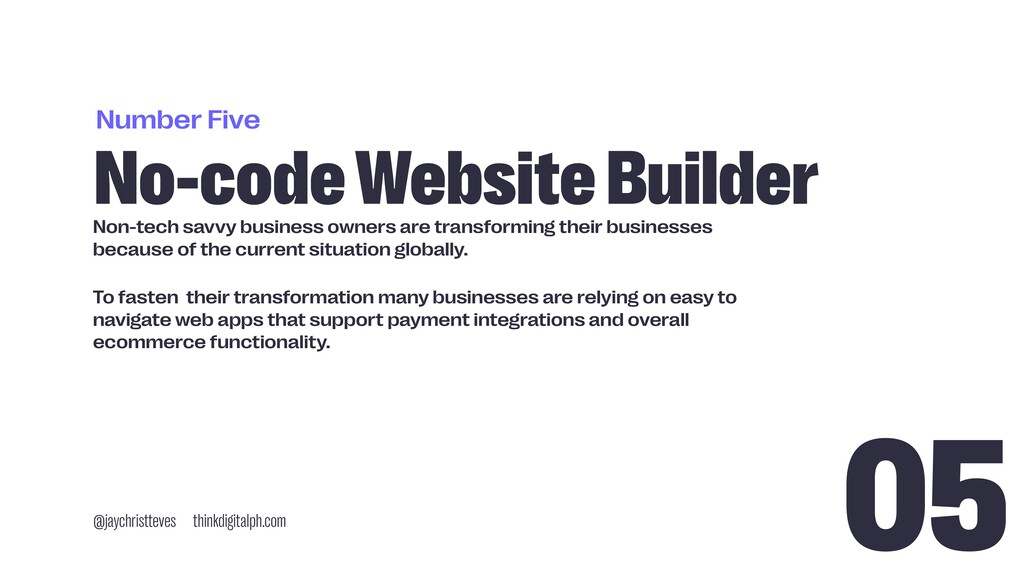 Number Five No-code Website Builder @jaychristt...