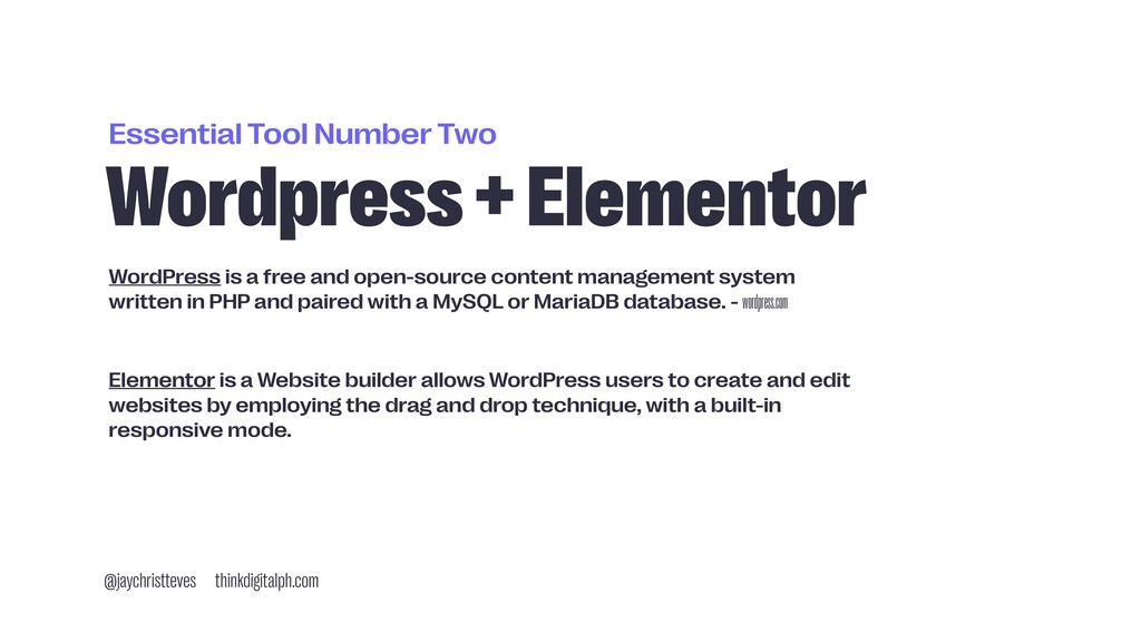 Essential Tool Number Two Wordpress + Elementor...