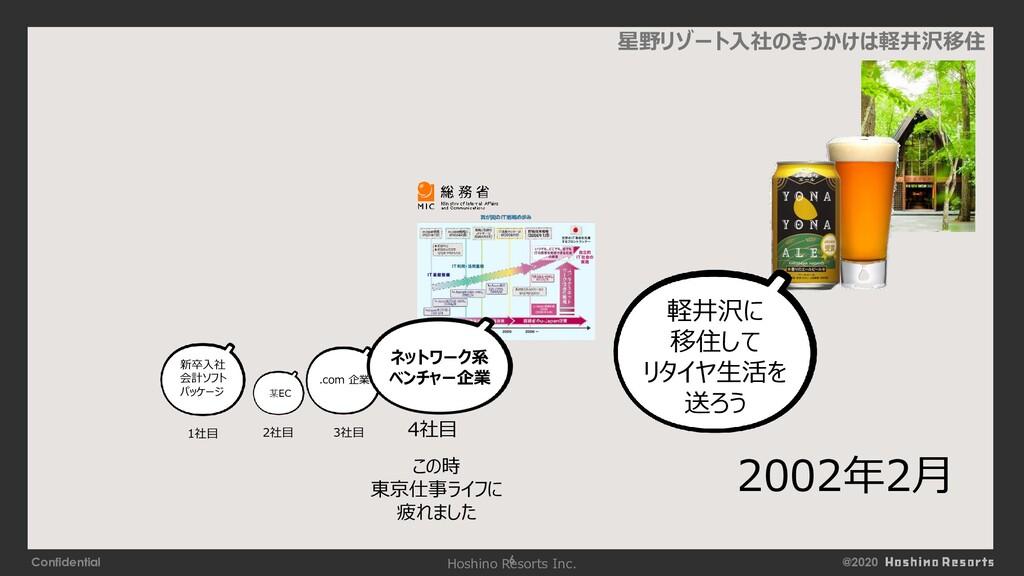 @2020 Confidential 6 星野リゾート入社のきっかけは軽井沢移住 この時 東京...