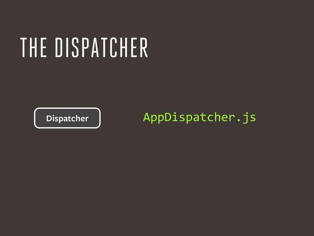 THE DISPATCHER AppDispatcher.js Dispatcher