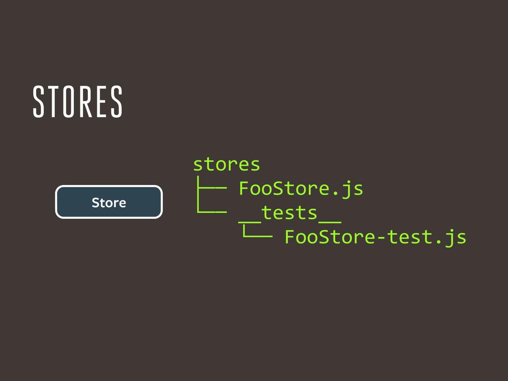 Store stores  ├── FooStore.js  └── ...