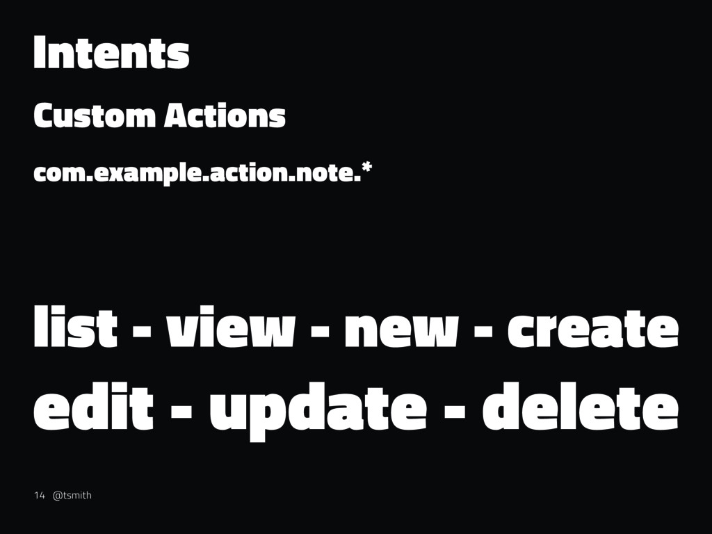 Intents Custom Actions com.example.action.note....