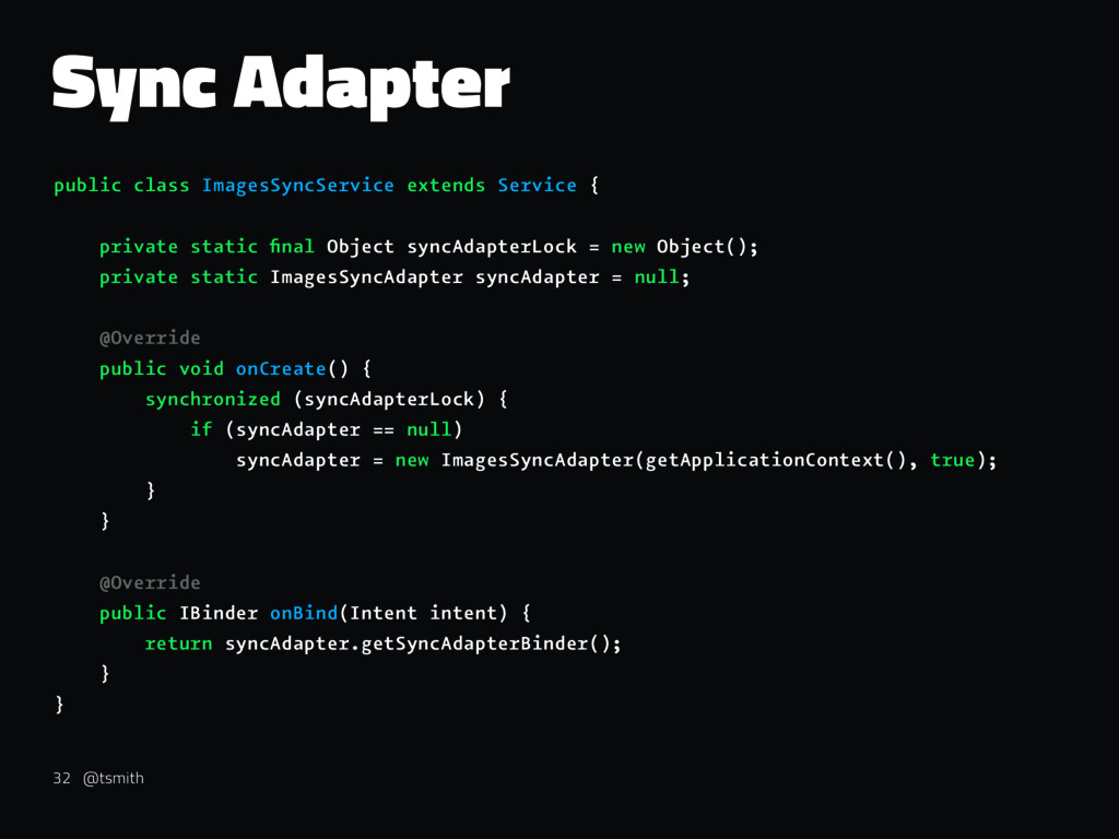 Sync Adapter public class ImagesSyncService ext...