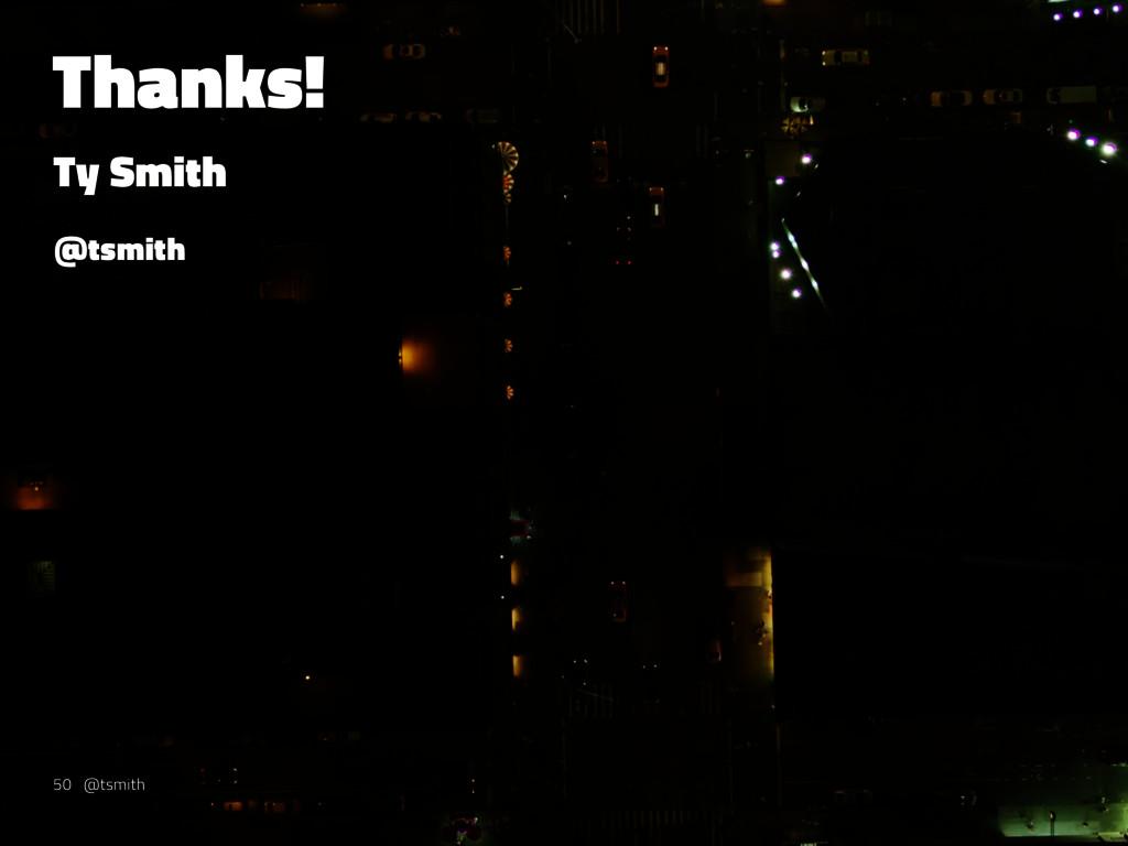Thanks! Ty Smith @tsmith 50 @tsmith