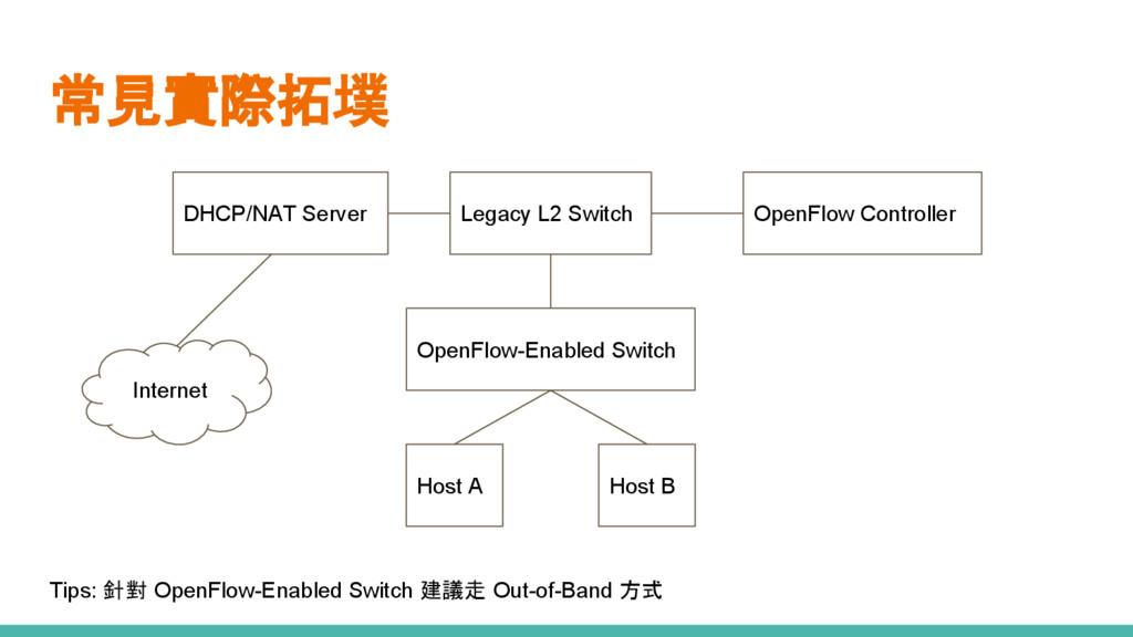 常見實際拓墣 OpenFlow-Enabled Switch Host A Host B Le...