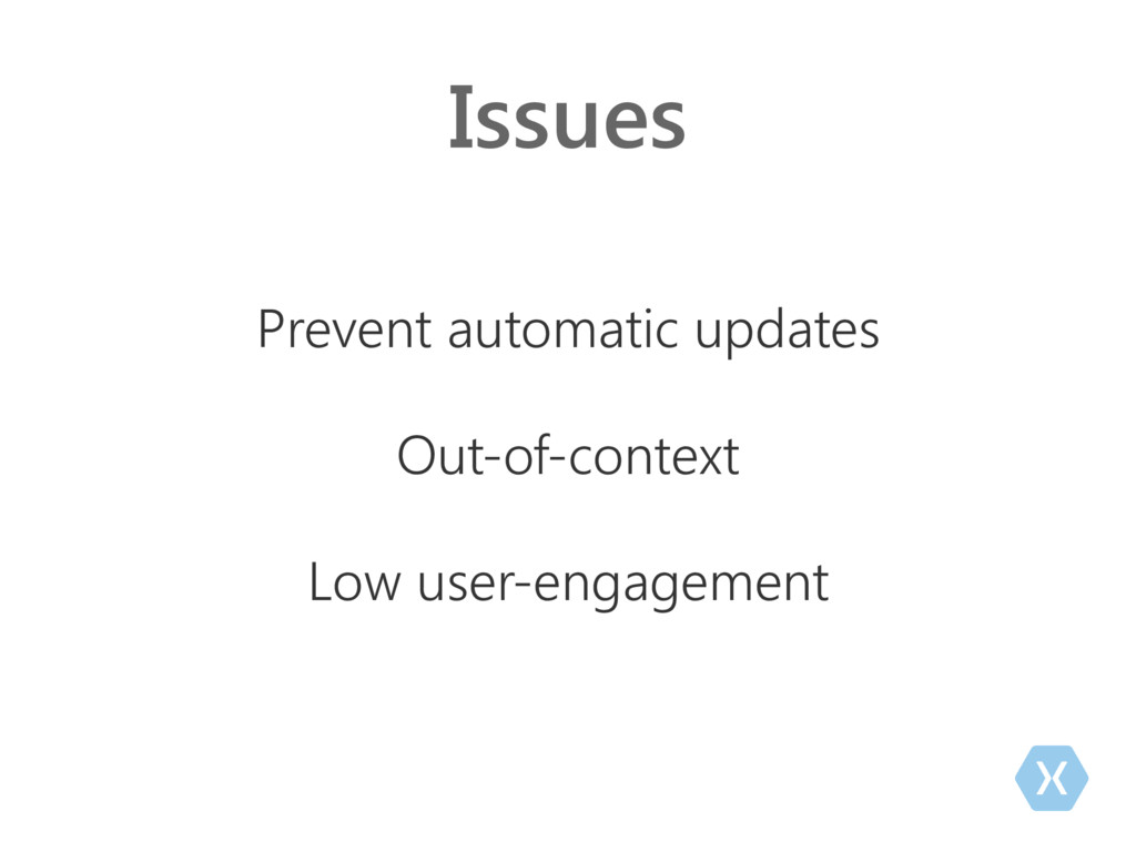 Issues Prevent automatic updates Out-of-context...