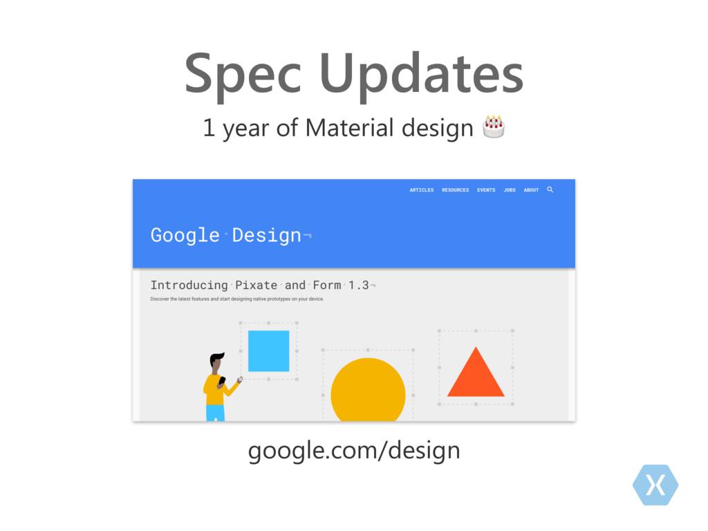 Spec Updates 1 year of Material design  google....