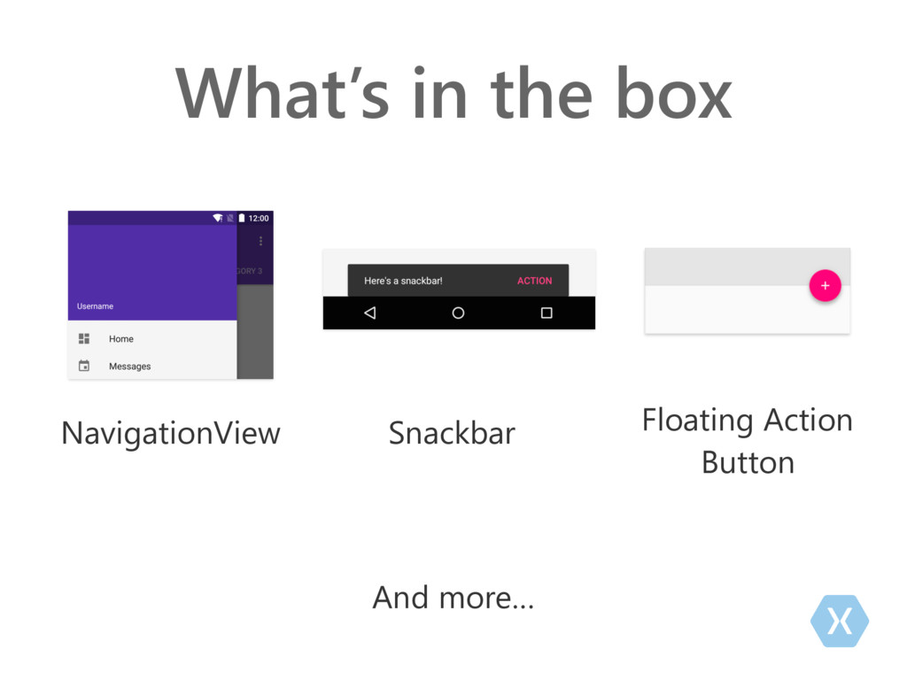 What's in the box And more… NavigationView Snac...