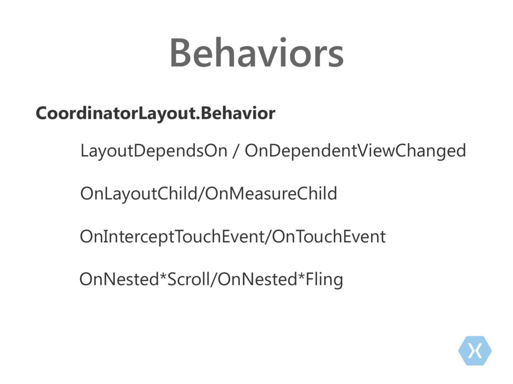 Behaviors CoordinatorLayout.Behavior LayoutDepe...