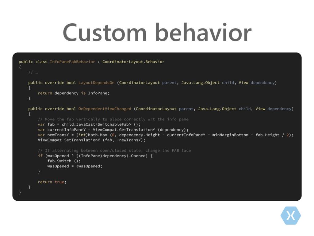 Custom behavior public class InfoPaneFabBehavio...
