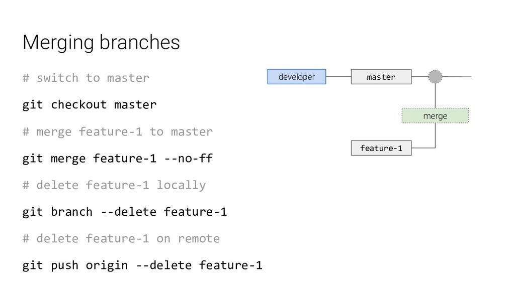 Merging branches # switch to master git checkou...