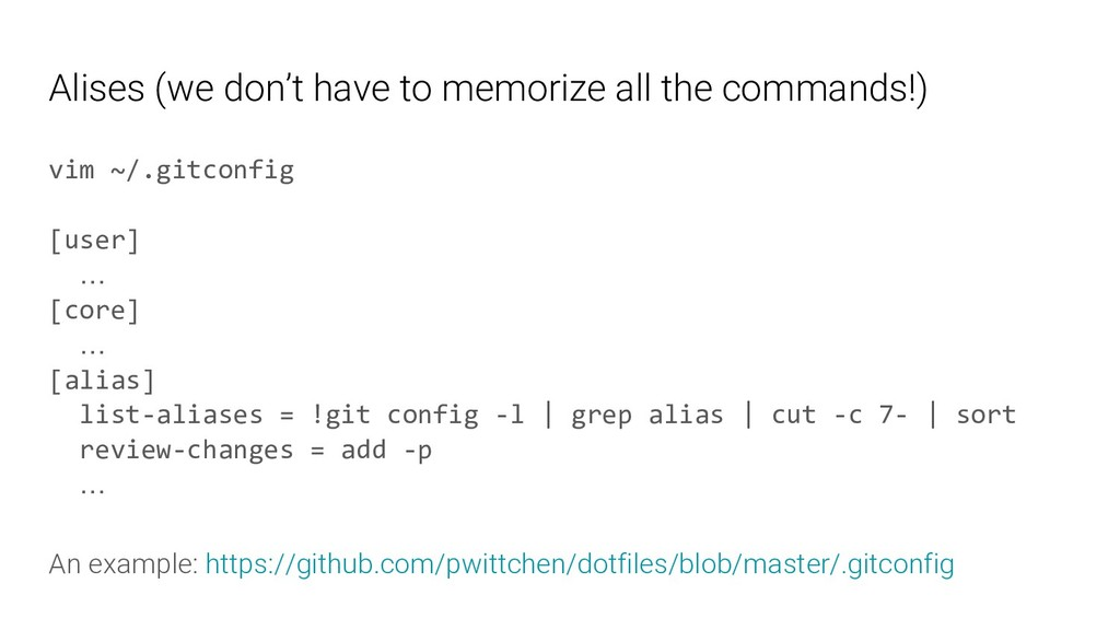 Alises (we don't have to memorize all the comma...