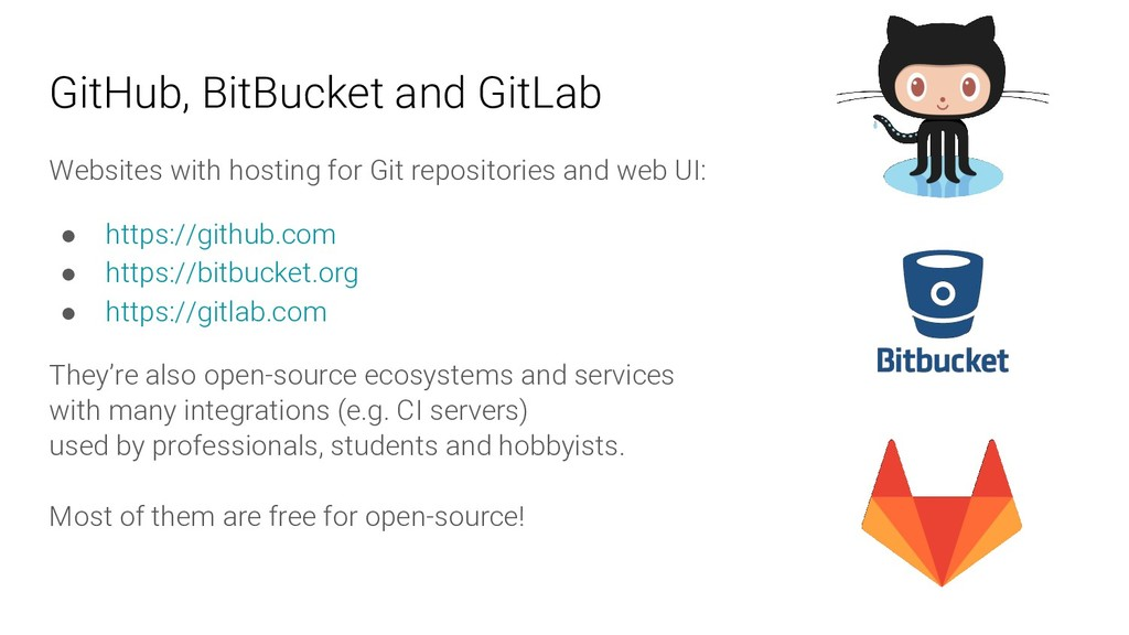 GitHub, BitBucket and GitLab Websites with host...