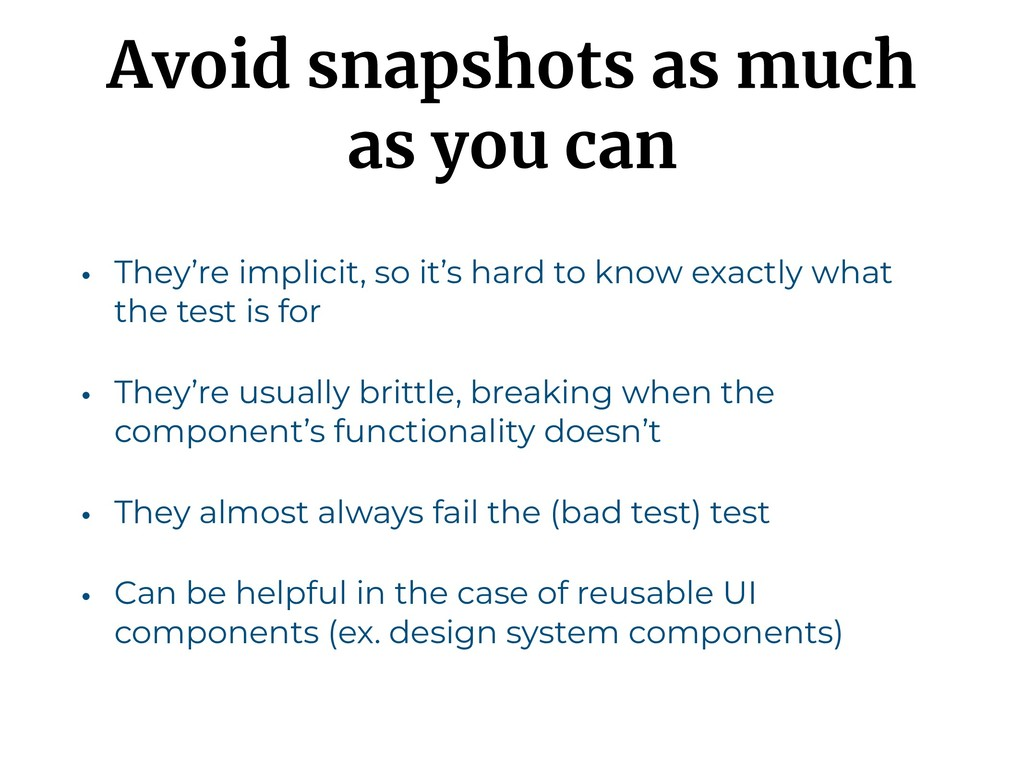 Avoid snapshots as much as you can • They're im...