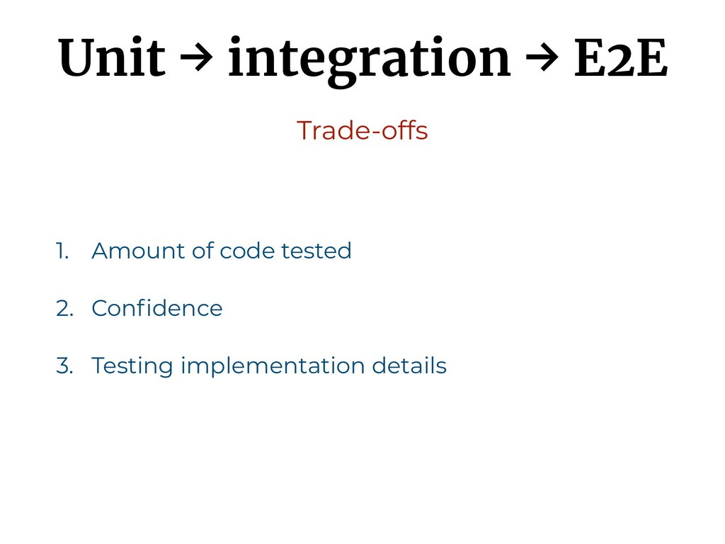 Unit → integration → E2E 1. Amount of code test...