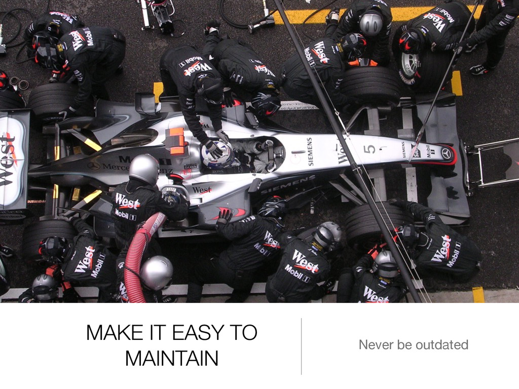 MAKE IT EASY TO MAINTAIN Never be outdated