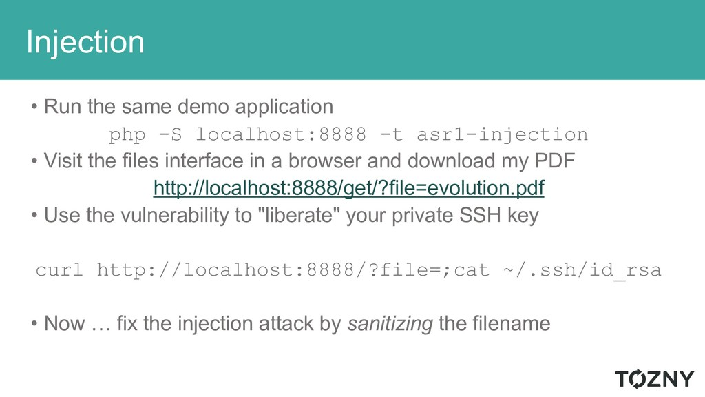 Injection • Run the same demo application php -...
