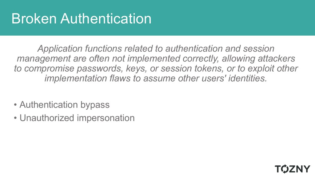 Broken Authentication Application functions rel...