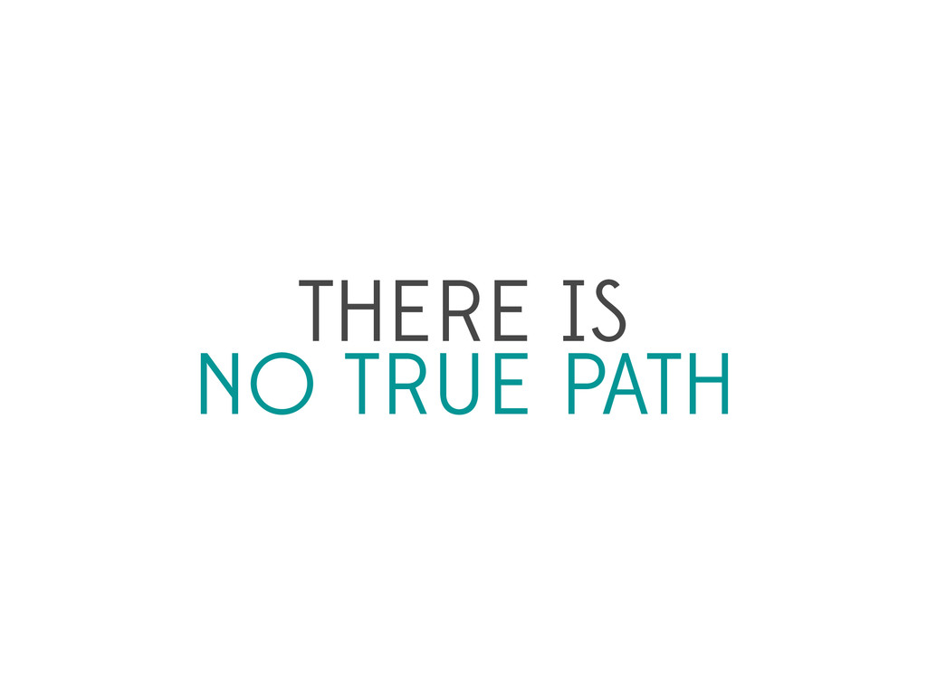 THERE IS NO TRUE PATH