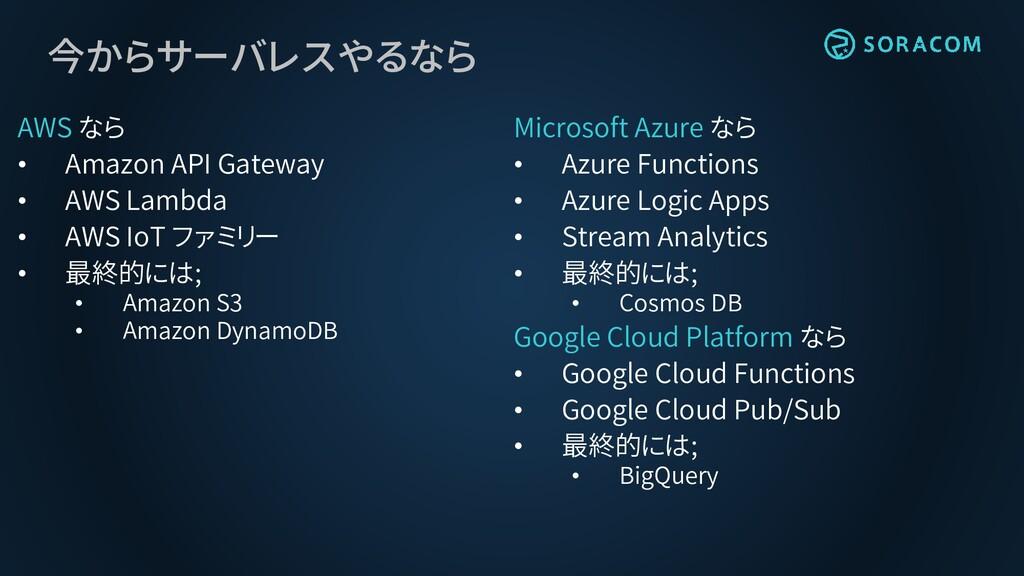 今からサーバレスやるなら AWS なら • Amazon API Gateway • AWS ...