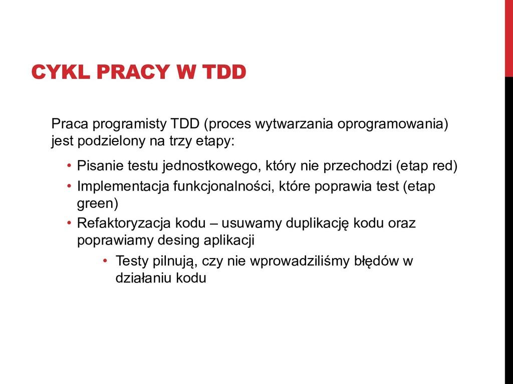 CYKL PRACY W TDD Praca programisty TDD (proces ...