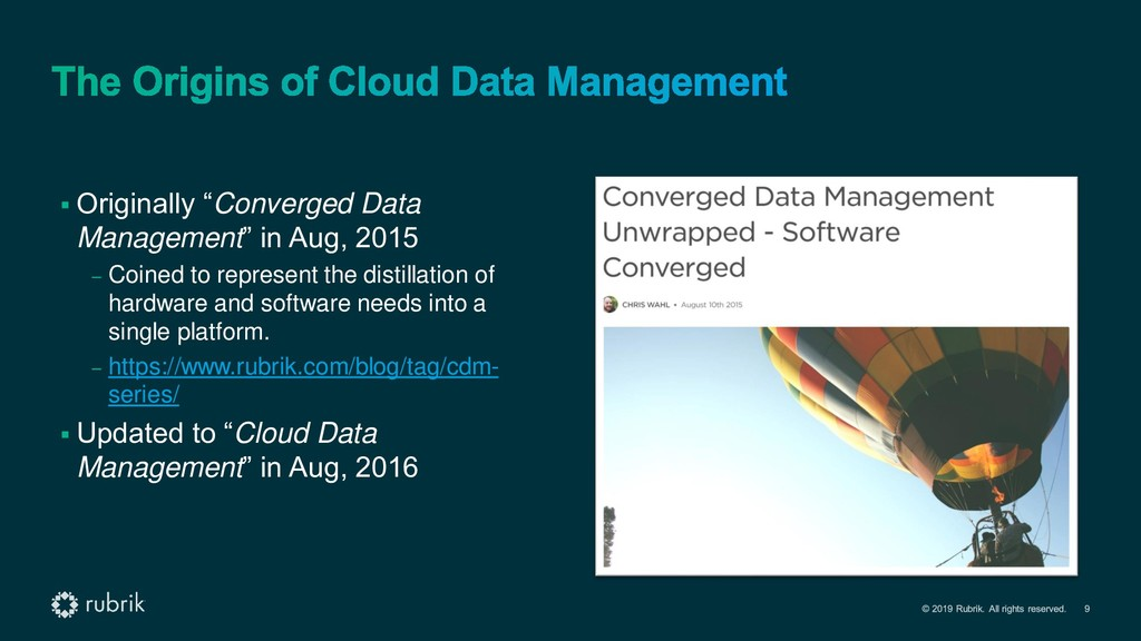 "▪ Originally ""Converged Data Management"" in Aug..."