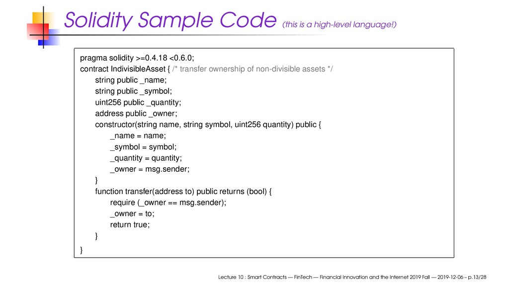 Solidity Sample Code (this is a high-level lang...