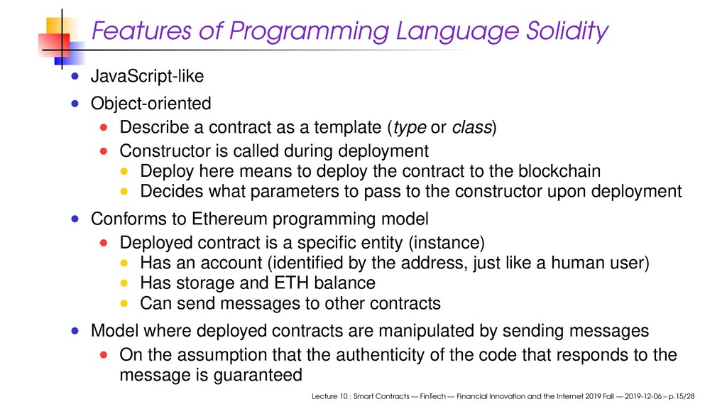 Features of Programming Language Solidity JavaS...