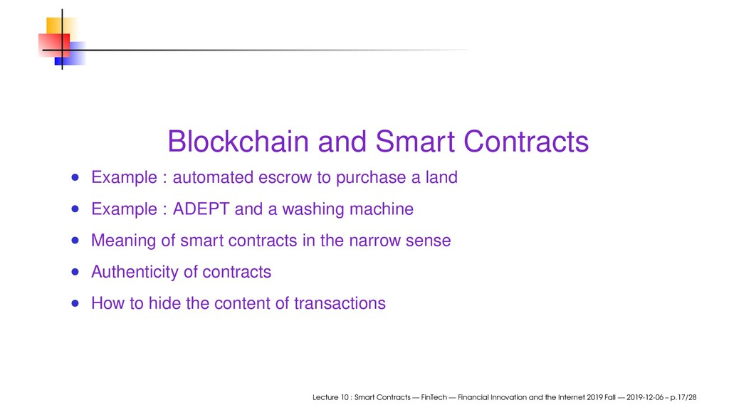 Blockchain and Smart Contracts Example : automa...
