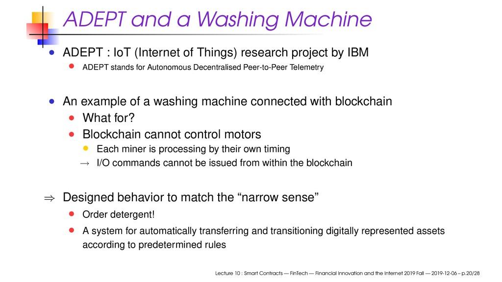 ADEPT and a Washing Machine ADEPT : IoT (Intern...