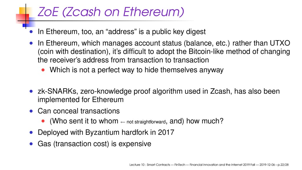 """ZoE (Zcash on Ethereum) In Ethereum, too, an """"a..."""