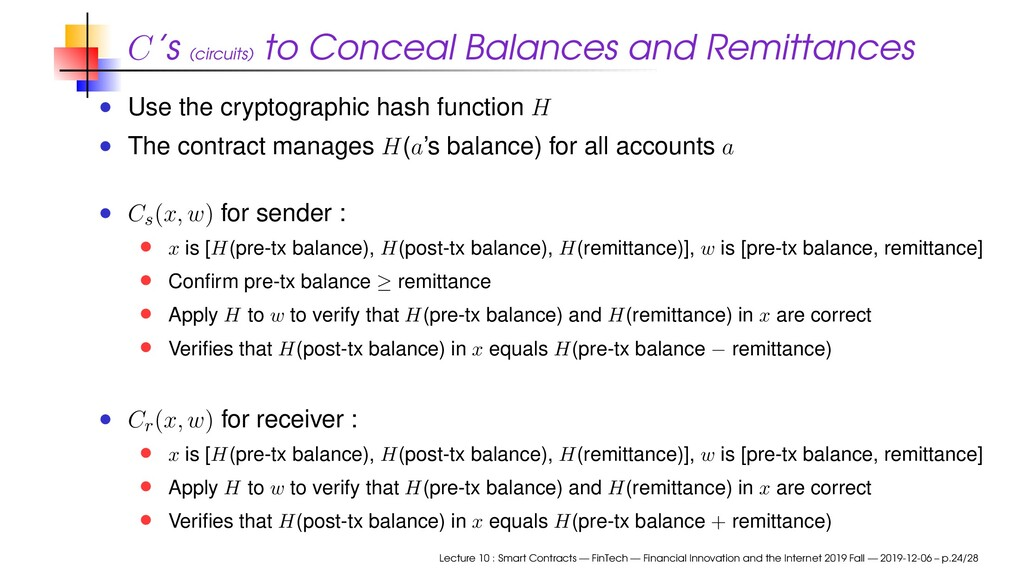 C's (circuits) to Conceal Balances and Remittan...