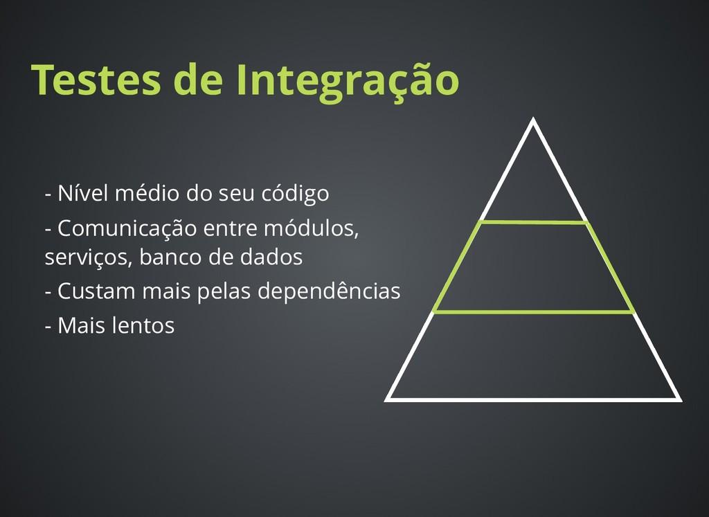Testes de Integração Testes de Integração - Nív...