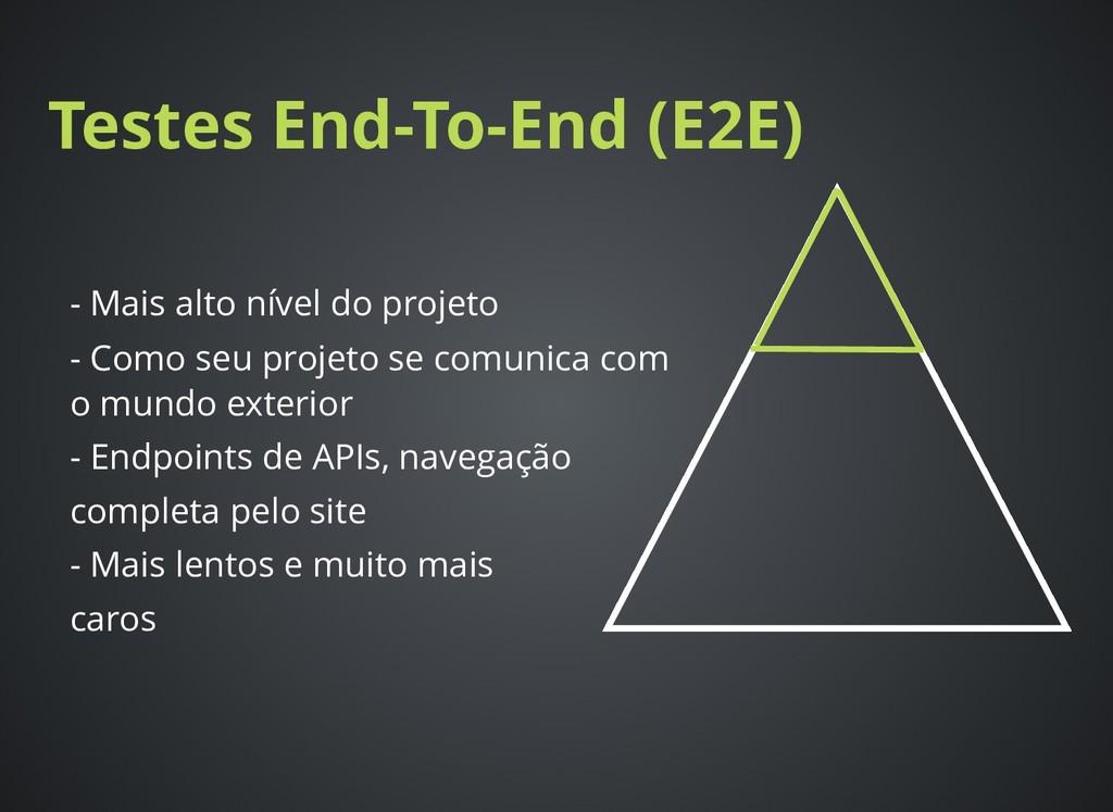 Testes End-To-End (E2E) Testes End-To-End (E2E)...