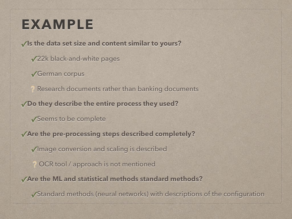 EXAMPLE ✓Is the data set size and content simil...